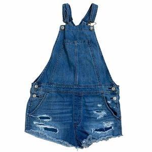 American Eagle Jean overall shorts